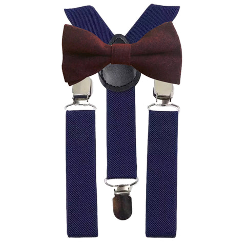Emily Boys Burgundy Red Bow Tie and Navy Braces | Dickie Bow