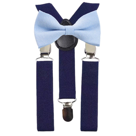 Leo Boys Blue Bow Tie and Navy Braces