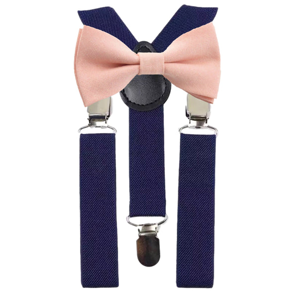 Romeo Boys Blush Pink Bow Tie and Navy Braces | Dickie Bow