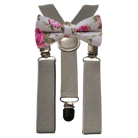 Andrew Floral Boys Bow Tie and Grey Braces | Dickie Bow