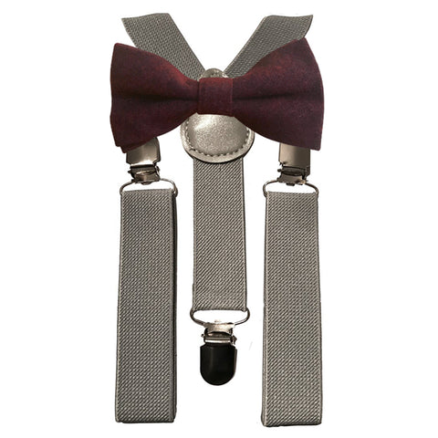Emily Boys Burgundy Bow Red Tie and Grey Braces | Dickie Bow