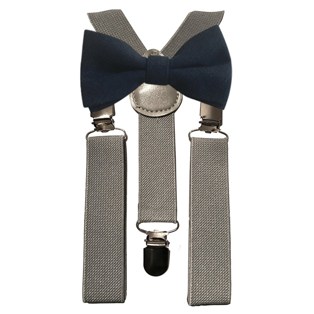 Oliver Boys Navy Blue Bow Tie and Grey Braces