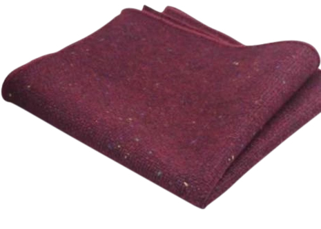 Carter Tweed Burgundy Red Pocket Square