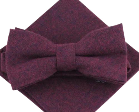 Emily Burgundy Bow Tie and Pocket Square