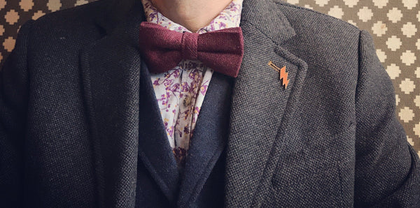 Carter Tweed Wool Burgundy Red Bow Tie | Dickie Bow