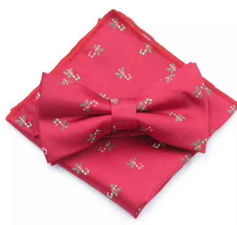 Noel Christmas Red Bow Tie and Pocket Square | Dickie Bow