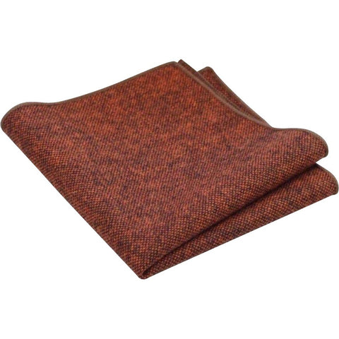 Charlie Burnt Orange Tweed Pocket Square | Dickie Bow