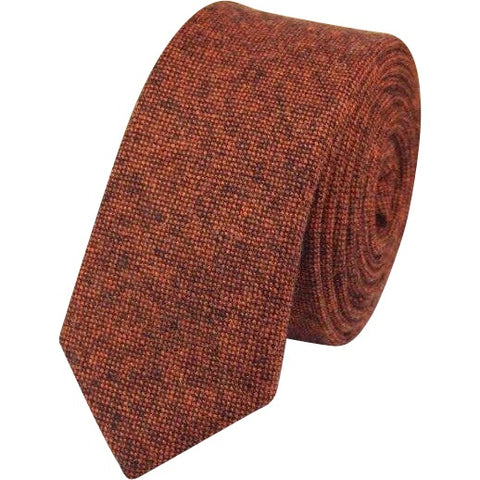Ruby: The Vintage Dark Rusty Red Tweed Skinny Tie