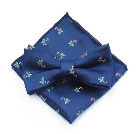 North Christmas Blue Bow Tie and Pocket Square | Dickie Bow