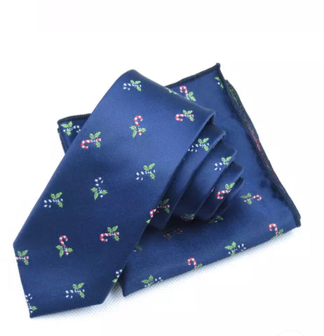 Ivy Christmas Blue Tie and Pocket Square | Dickie Bow