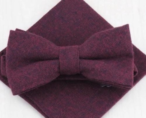 Vernon: The Vintage Wine Red Bow Tie and Pocket Square
