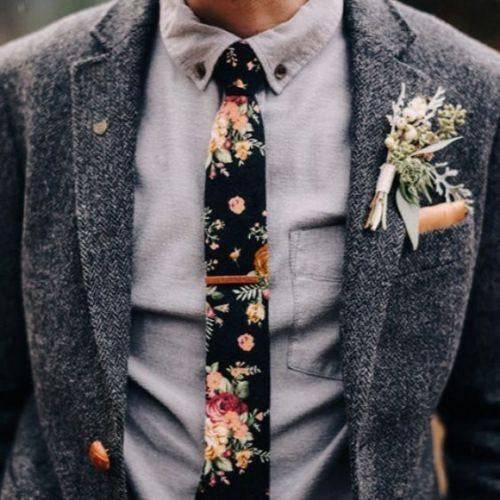 Vesper: The Vintage Black Floral Skinny Tie and Pocket Square. Step into summer with some lovely floral ties and pocket squares! Click to view the collection now.