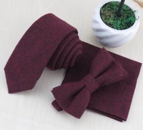 Emily Cotton Burgundy Bow Tie | Dickie Bow