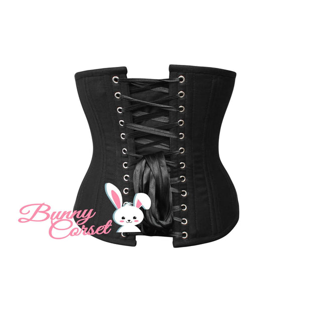 Waist Training Corset, Black Cotton Corset, Underbust Corset