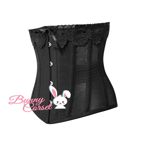 Black Corset, Cotton Overbust Corset, Corset With Bow