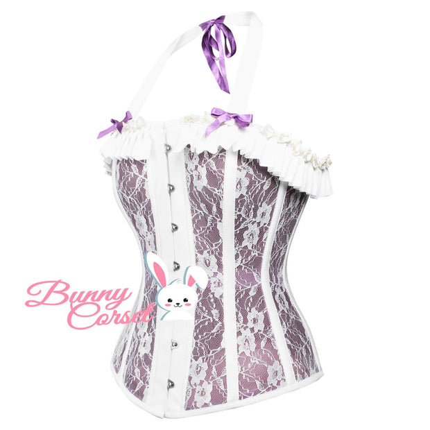 Plus Size Corset, Mesh Overbust Corset, Corset With Halter Neck