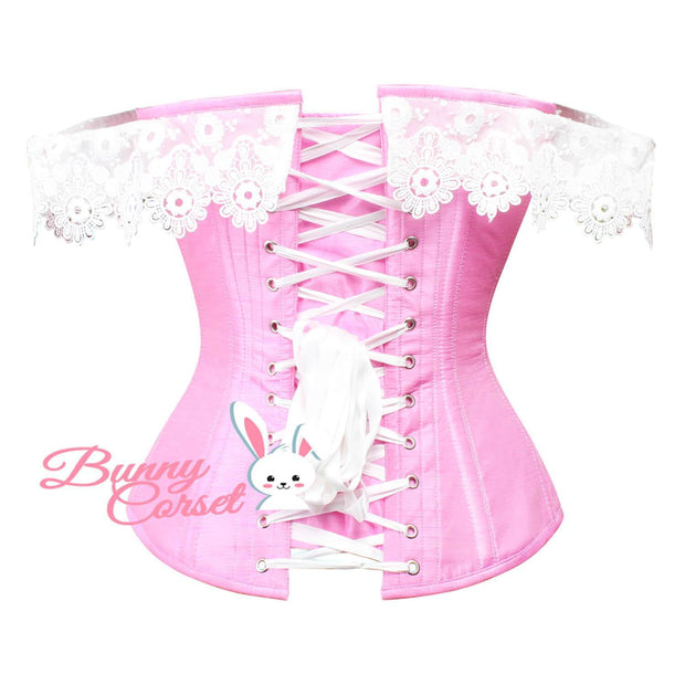 Pink Corset, Overbust Corset, Corset With Lace Cold Shoulder