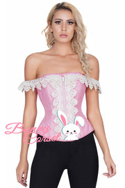 Malak Pink Dupion Corset With Lace Cold Shoulder