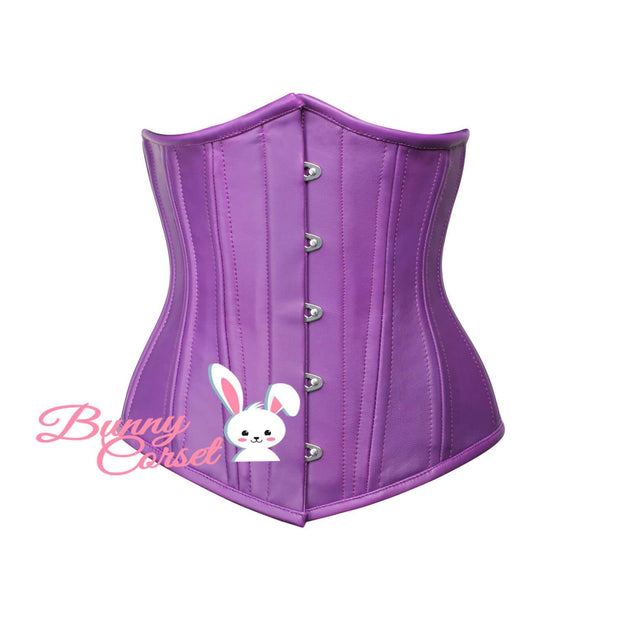 Purple Leather Corset, Waist Trainer Corset, Underbust Corset