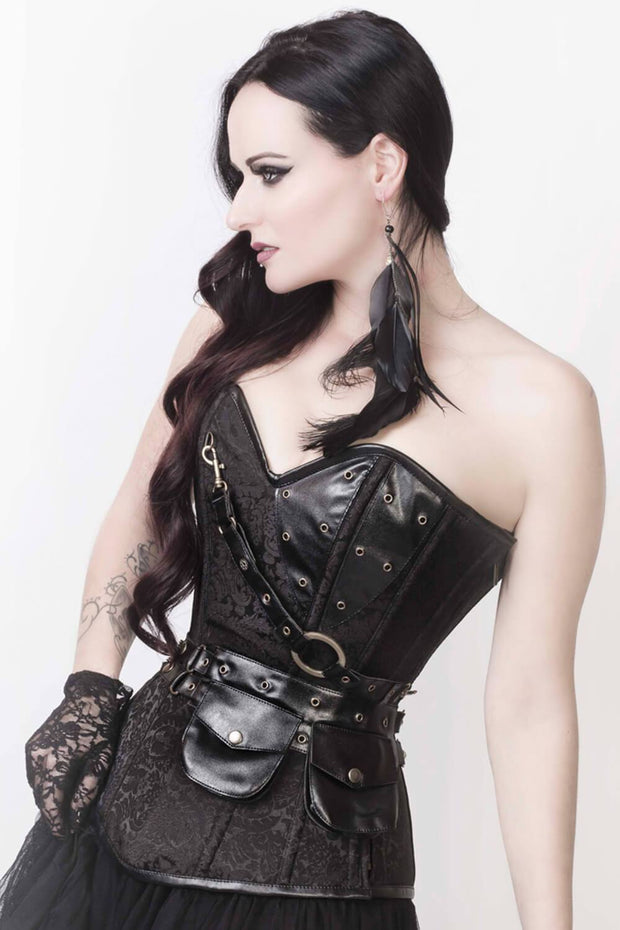 Renata Black Brocade Steampunk Corset with Shrug