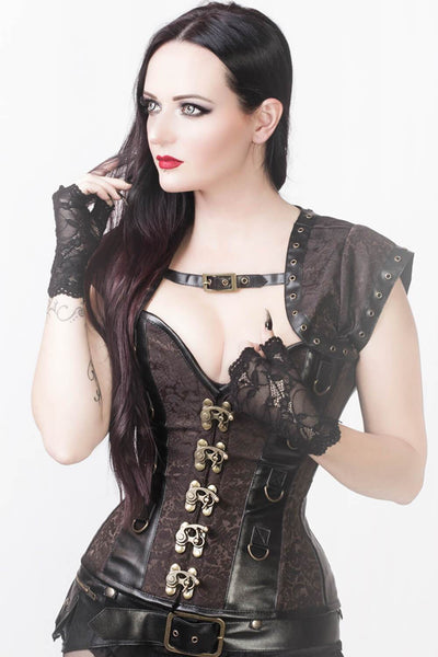 Reyna Steampunk Overbust Corset with Detachable Belt