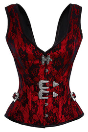 Red Satin Corset, Gothic Corset, Vested Corset