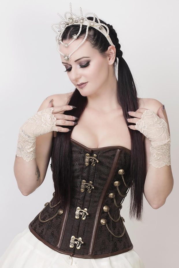 Alba Custom Made Steampunk Overbust Brown Corset with Chains
