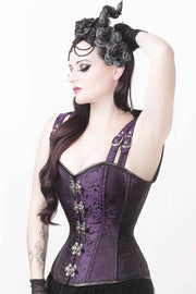 Eartha Custom Made Brocade Gothic Overbust Corset with Shoulder Straps