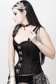 Adrienne Custom Made Gothic Overbust Black Corset with Shoulder Straps