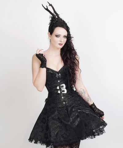 Electra Gothic Lace Overlay Corset Dress