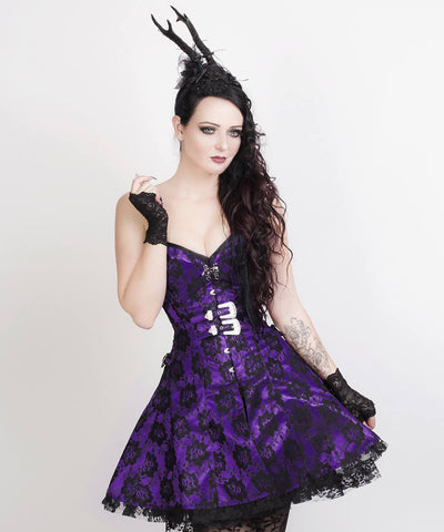 Aengus Gothic Lace Overlay Corset Dress
