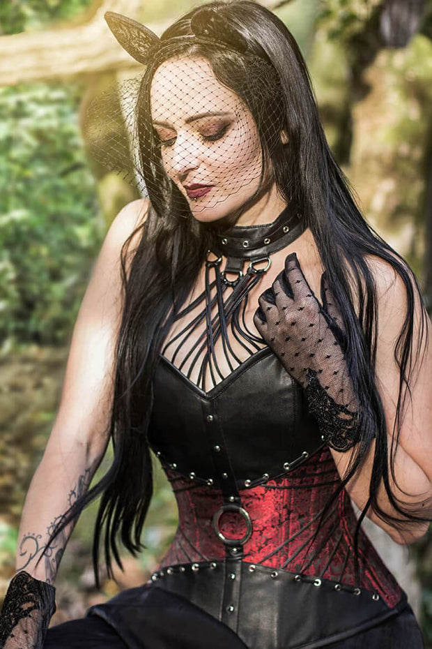 Liesei Custom Made Gothic Overbust Corsets with Attached Neck Gear