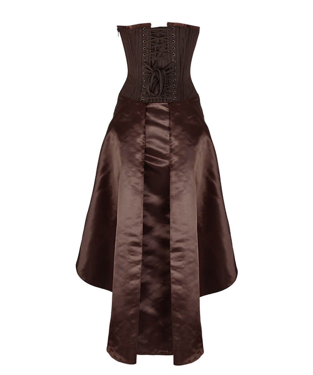 Anneliese Steampunk Brown Corset Dress