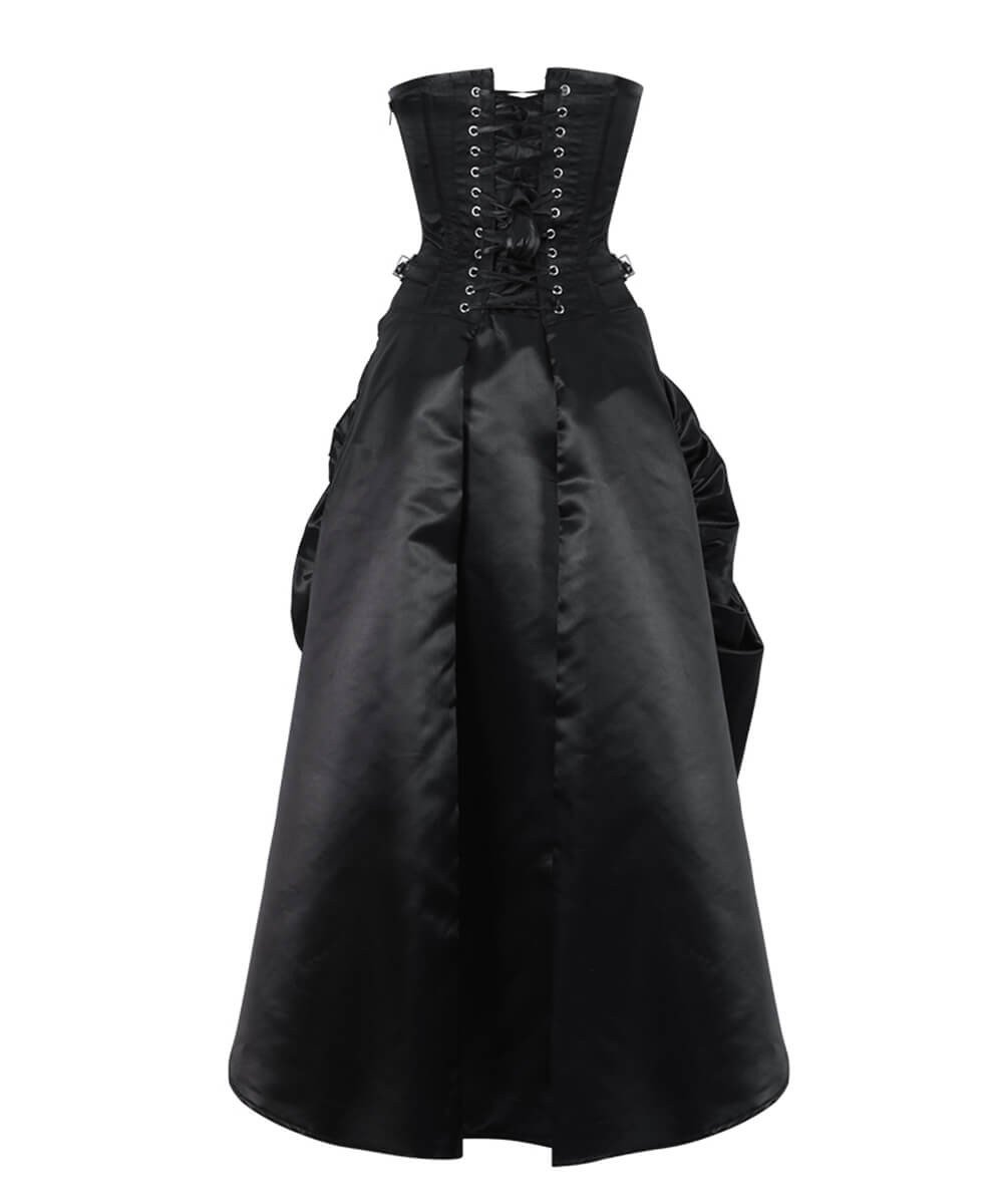 Katinka Steampunk Black Gathered Corset Dress
