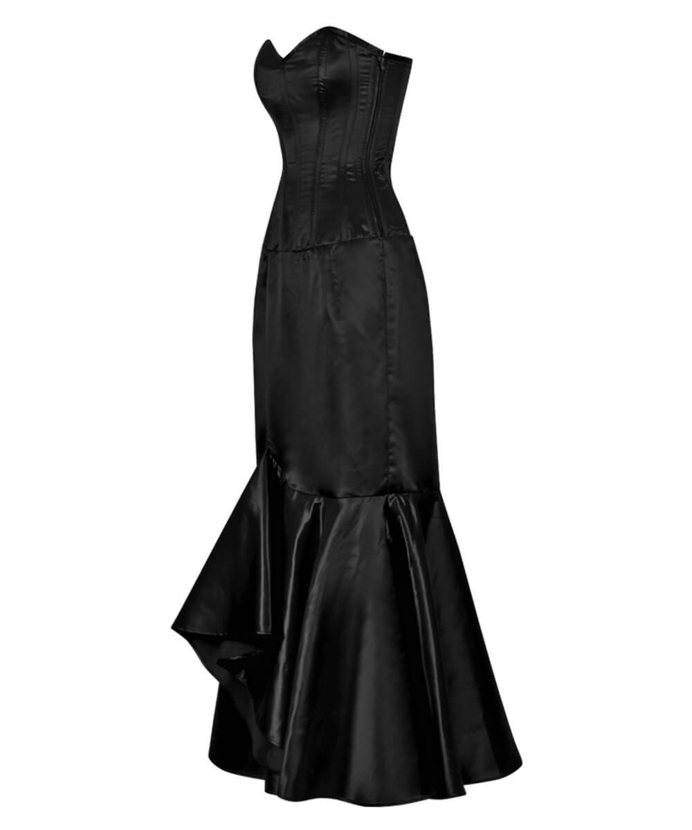 Aikin Black Ruffle Corset Dress