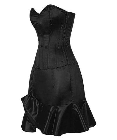 Fresco Black Corset Dress with Ruffle