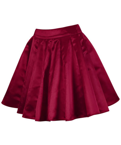 Freki Maroon Pleated Flared Skater Skirt