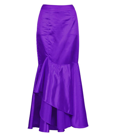 Mareo Long Purple Skirt with Ruffle