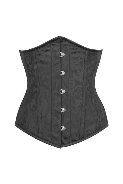 Black Brocade Waist Reducing Corset