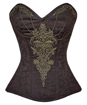 Harriet Embroidered Steampunk Overbust Corset