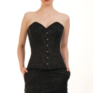 Phylis Black Overbust Brocade Corset