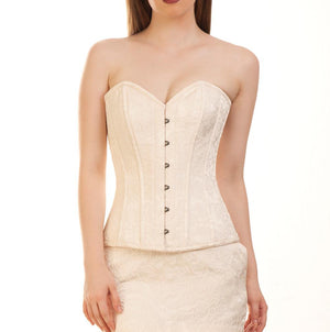 Norvin Brocade Plus Size Ivory Overbust Corset
