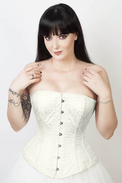 Edwardian Custom Made Ivory Brocade Overbust Corset (ELC-401)