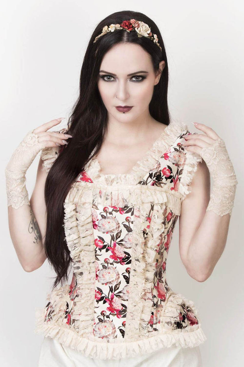 Lorna Victorian Inspired Ivory Overbust Corset
