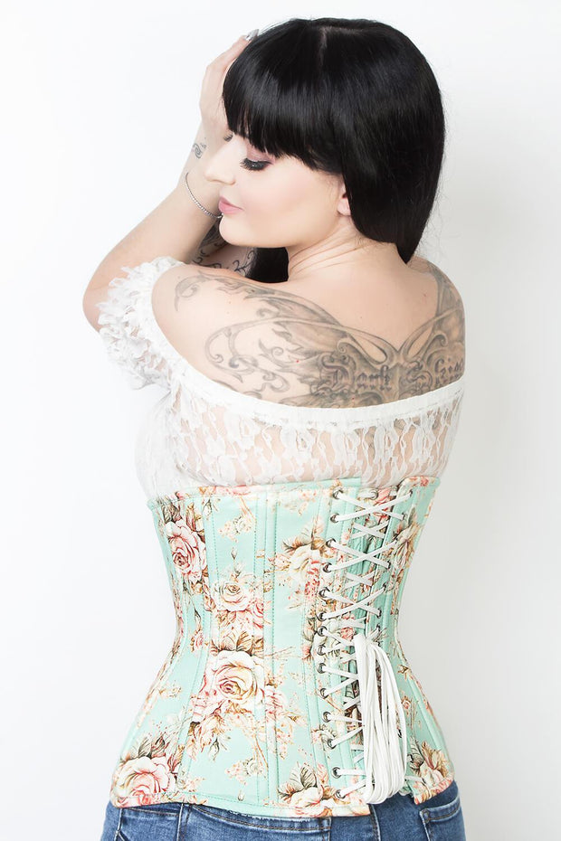 Salmon Cotton Printed Waist Training Corset (ELC-102)