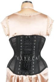 Black Mesh with Brocade Custom Made Underbust Corset (ELC-501)
