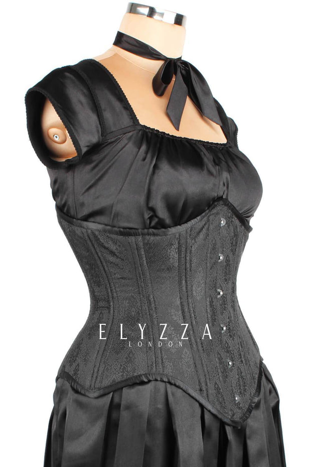 Waist Trainer Black Brocade Corset (ELC-501)