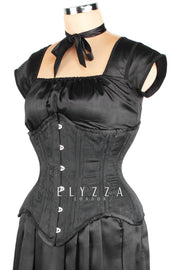 Waist Training Black Brocade Corset (ELC-501)