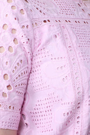 Liyana Embroidered Cotton Pink Shift Dress