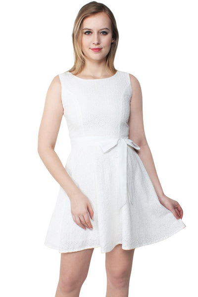 Ruthie Embroidered Cotton White Swing Dress